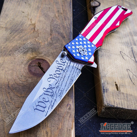 "US FLAG OUTDOOR CAMPING 9"" POCKET FOLDING KNIFE HUNTING RAZOR WE THE PEOPLE"