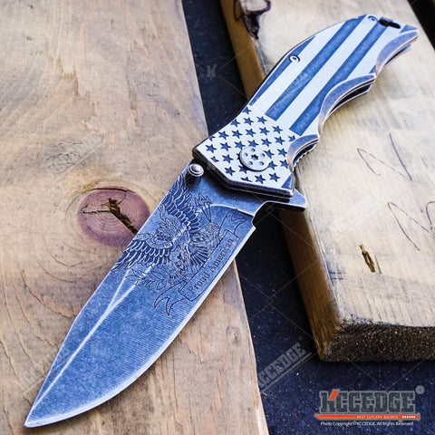 "PROUD OF AMERICA OUTDOOR 9"" POCKET FOLDING KNIFE CAMPING HUNTING RAZOR"