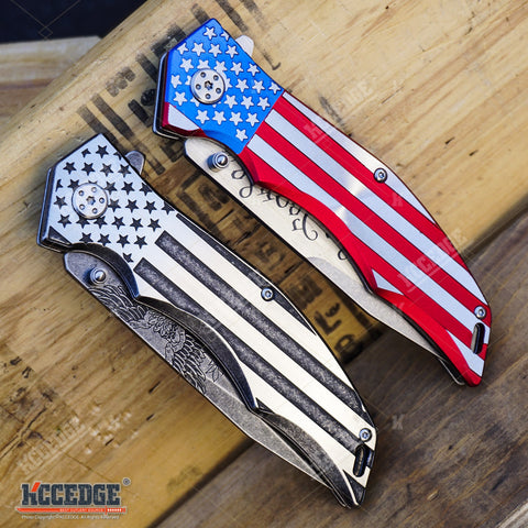 "2PC USA PATRIOTIC COMBO 9"" US FLAG We The People KNIFE + Don't Tread on Me KNIFE"