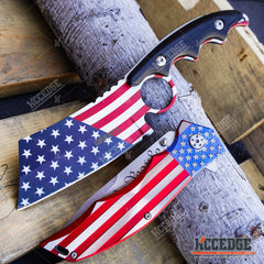 2PC PATRIOTIC SET US Flag CLEAVER + We The People Don't Tread on Me POCKET KNIFE