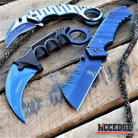 3PC BLUE SET Folding KARAMBIT + Fixed CSGO Karambit + CLEAVER Pocket Knife