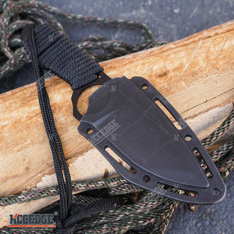 "8.5"" TACTICAL COMBAT FIXED BLADE NECK KNIFE w/ SHEATH"