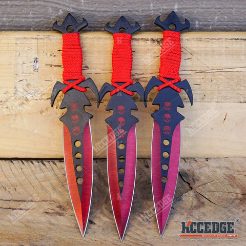"3PC 7.25"" NINJA KUNAI TACTICAL Double Edged Throwing Knife Set + Sheath"