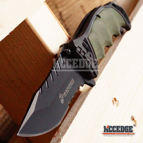 "8.5"" 3.5MM USMC MARINE MILITARY TACTICAL Half Serrated POCKET FOLDING KNIFE"