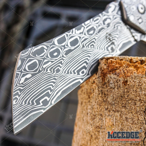2PC Cleaver Combo Etched Damascus FIXED Cleaver + SHAVER Folding Pocket CLEAVER