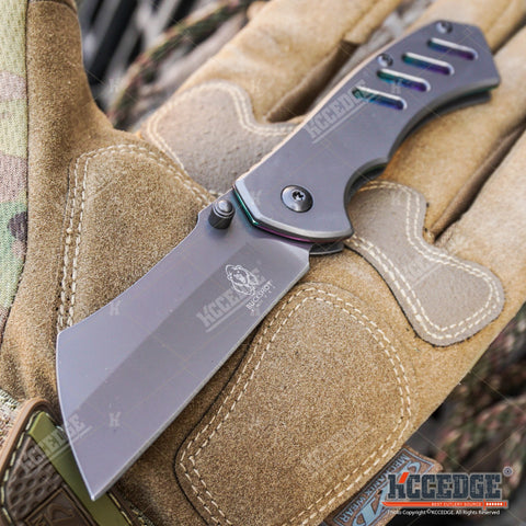 "3PC STONEWASH MILITARY KNIFE + ""Don't Tread On Me"" KNIFE + 6.5"" POCKET CLEAVER"