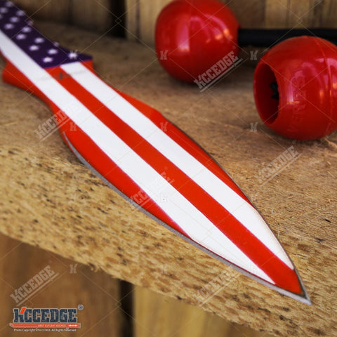 "8"" 2PC LARGE AMERICAN FLAG Throwing Knife Set W/ NYLON SHEATH"