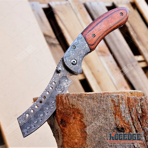"8"" BUCKSHOT SHAVER STYLE CLEAVER Folding Pocket Knife"
