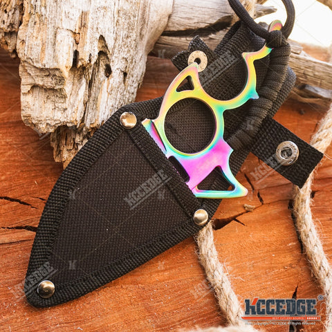 "6"" Full Tang Fixed Blade Tactical Knife Shark Design Paracord Wrapped Handle"