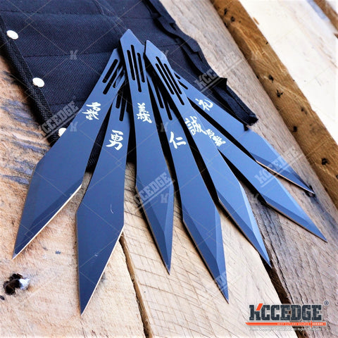 "7PC 7.5"" Black NINJA KUNAI Chinese Wording Throwing Knife Set with Leg Sheath"
