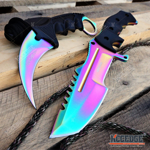 2PC CSGO RAINBOW SET JUNGLE FIXED HUNTSMAN KNIFE + KARAMBIT w/Sheath+Finger Ring