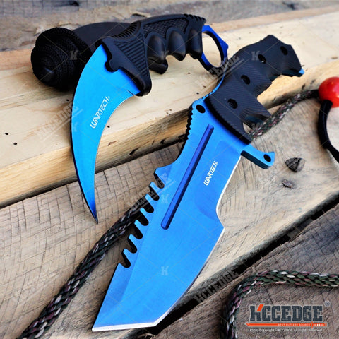 2PC CSGO BLUE Set COUNTER-STRIKE Hunstmen BOWIE KNIFE + Fixed-Blade KARAMBIT
