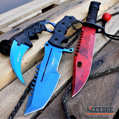 3PC CSGO BLUE FIXED BLADE HUNTSMAN KNIFE + Red M9 Bayonet KNIFE + BLUE KARAMBIT