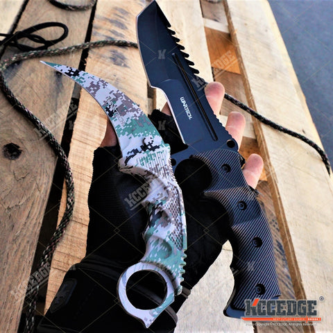 2PC CSGO COMBO Black HUNTSMAN FIXED BOWIE KNIFE + DIGITAL CAMO KARAMBIT