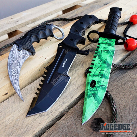 3PC CSGO Black HUNTSMAN KNIFE + Green BAYONET KNIFE + DAMASCUS ETCHED KARAMBIT