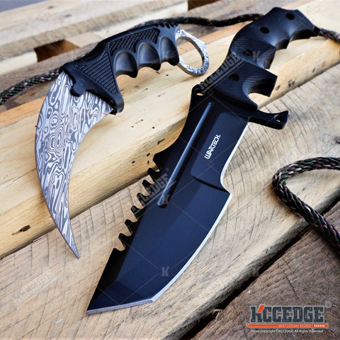 2PC CSGO COMBO Black HUNTSMAN FIXED BOWIE KNIFE + DAMASCUS ETCHED KARAMBIT