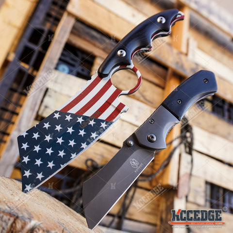 "Little Cleaver Combo 2PC Mini 6.5"" Pocket Knife + FIXED US Flag 8"" CLEAVER"