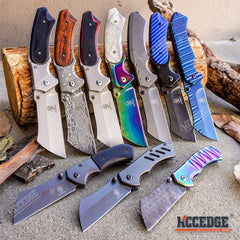 CAMPING HUNTING Assisted Open Pocket Folding Knife BUCKSHOT CLEAVER RAZOR Blade