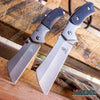 Image of 2PC Black Cleaver Set FIXED Cleaver + Mini Folding Pocket Cleaver