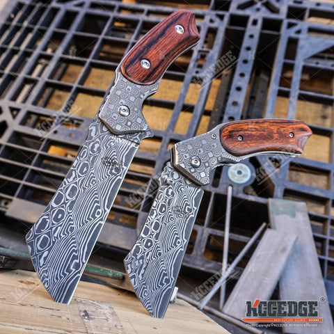 2PC Damascus Cleaver Combo FIXED BLADE Cleaver + Assisted Open Folding CLEAVER