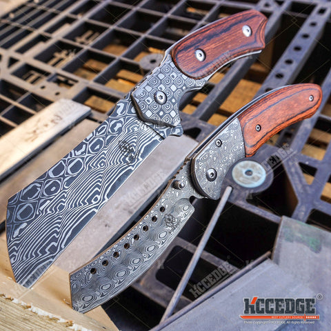 2PC Etched Damascus Cleaver Combo Set FIXED Cleaver + SHAVER STYLE CLEAVER