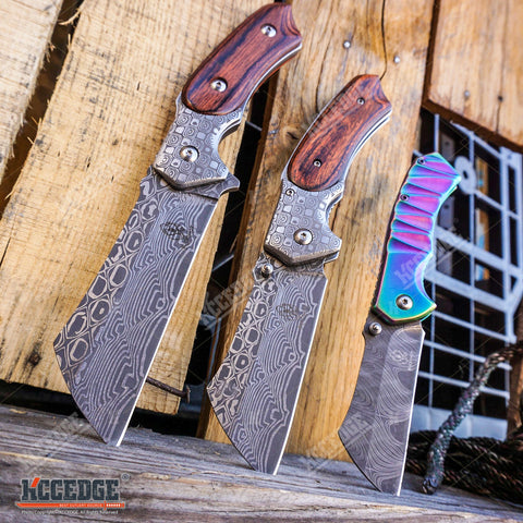 Little Cleaver Damascus Combo 3PC FIXED CLEAVER + Folding CLEAVER + Mini CLEAVER