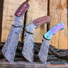 Image of Little Cleaver Damascus Combo 3PC FIXED CLEAVER + Folding CLEAVER + Mini CLEAVER