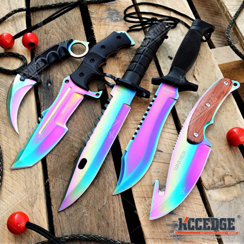 5PC RAINBOW KNIVES CSGO SET M9 BAYONET + GUT HOOK + BOWIE + KARAMBIT + HUNTSMAN