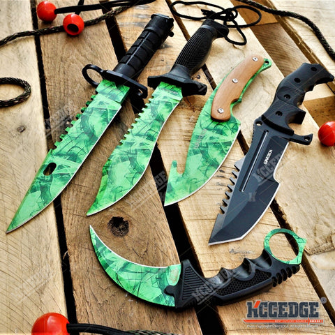 5PC CSGO SET BAYONET+ GUT HOOK + BOWIE KNIFE + KARAMBIT + BLACK HUNTSMAN