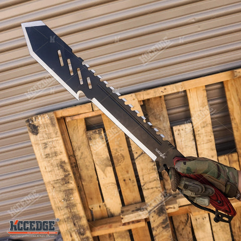 "2PC COMBO SET 25.5"" ZOMBIE KILLING Ninja Machete + 20"" Survival Hunting Machete"