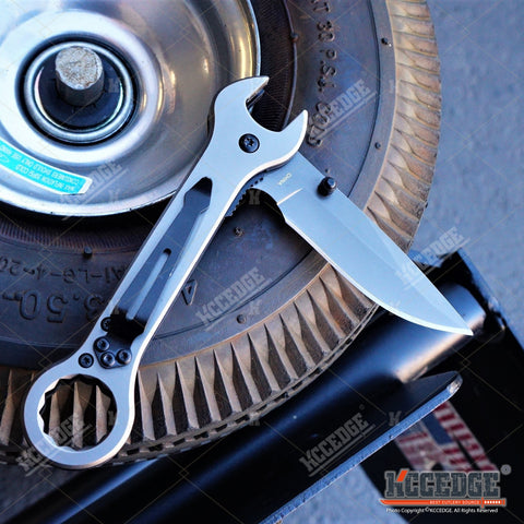 "7.5"" Mirror Finish EDC MULTI TOOL WRENCH KNIFE Folding Pocket Knife"