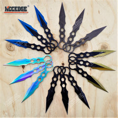 "3PC 7.5"" Technicolor Kunai Throwing Knife Set with Sheath Survival Combat Throwers"