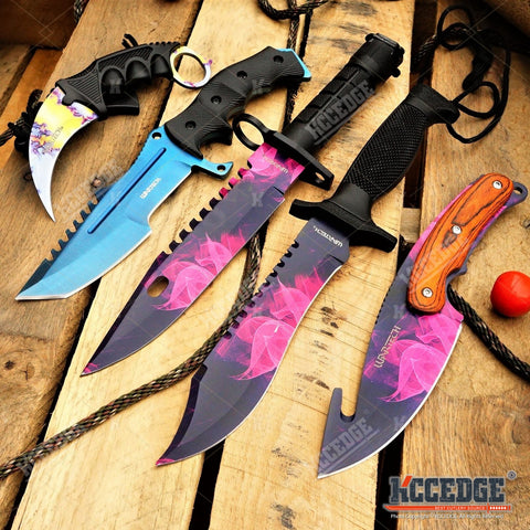 5PC CSGO SET Purple BAYONET + GUT HOOK + BOWIE KNIFE + BLUE HUNTSMAN + KARAMBIT