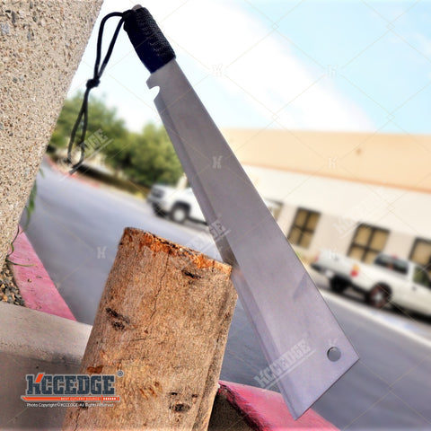 "19"" Chrome FLAT HEAD FULL TANG HUNTERS CHOPPING SWORD Fixed Blade Machete ZOMBIE"