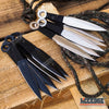 "Image of 12PC 6"" Silver and Black NINJA FULL TANG Throwing Knife Set w/ Nylon Zipper Case"
