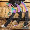Image of 3PC FIXED BLADE RAINBOW SET Serrated Back Karambit + HAWKBILL + CSGO KARAMBIT
