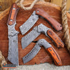 Image of 4PC Damascus Etched Cleaver Set - 1 FIXED BLADE + 3 ASSISTED OPEN FOLDING KNIVES