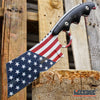 "Image of PROUD OF AMERICA 8.25"" FIXED BLADE CLEAVER Patriotic American Flag HUNTING Knife"
