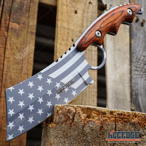 "PROUD OF AMERICA 8.25"" FIXED BLADE CLEAVER Patriotic American Flag HUNTING Knife"