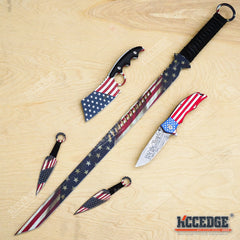 "3PC USA FLAG COMBO 27"" Ninja Sword + 8.25"" CLEAVER + ""We The People"" 9"" KNIFE"