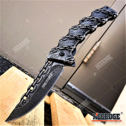 "TAC-FORCE 8"" STEEL CHAIN DESIGN Assisted Open EDC Folding Pocket Knife"