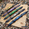 "Image of 12 3/8"" Double Blade Half Serrated Drop Point Skulls & Flames Pocket Knife"