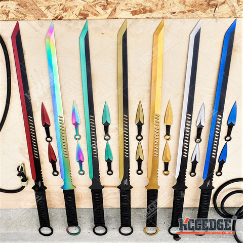 "27"" NINJA SWORD TANTO Machete + 2 Throwing Knife Full Tang Tactical Blade Katana"