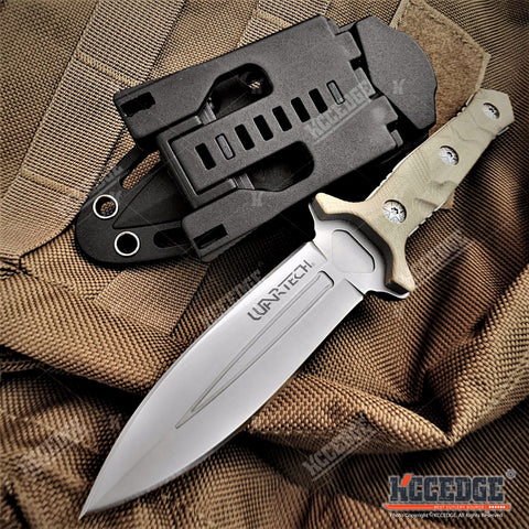 "8"" Fixed Blade Knife G10 Handle Scales w/ Molle Compatible Kydex Pressure Retention Sheath"
