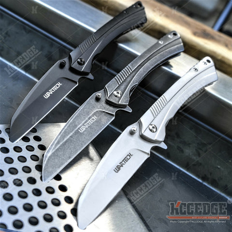 "8"" Folding Knife Frame Lock Straight Edge Wharncliffe Blade Spring Assisted Pocket Knife with Belt Clip"
