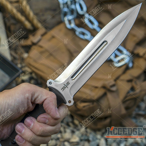 "12"" Fixed Blade Tactical Knife G10 Handle w/ Kydex Sheath 8cr13MOV Spear Point Blade"