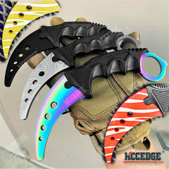 "7.5"" Fixed Blade Knife FULL METAL TRAINING KARAMBIT with DULL EDGE"