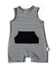 The Tank Shorty Romper - Black Stripe