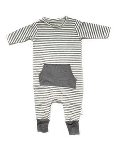 Stripe Romper - Gray