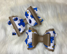 Cookie Monster leather bow